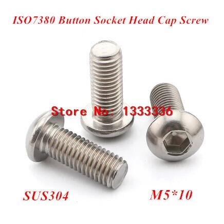 200 Uds ISO7380 M5 * 10 tornillos hexagonales tornillos de cabeza de botón 304 tornillos de cabeza redonda de acero inoxidable tornillos de tornillo Allen de setas
