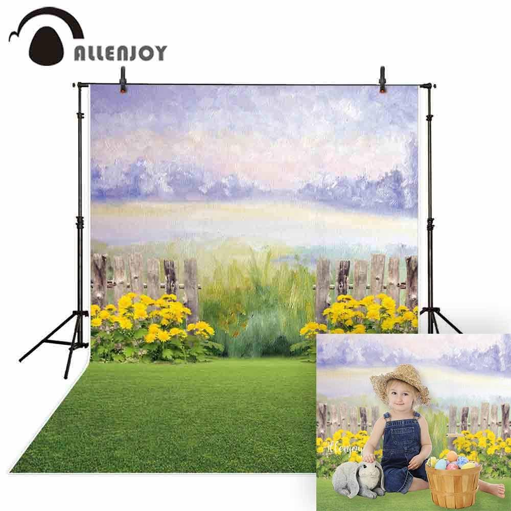 Allenjoy fotografía Fondo acuarela primavera flor jardín valla chico Pascua, telón de fondo estudio fotográfico photocall disparar tela