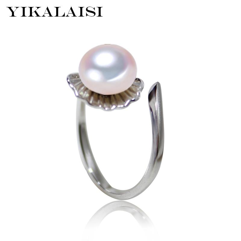 YIKALAISI 2017 moda 100% perla natural de agua dulce anillos de joyería de 8-9mm de moda de Plata de Ley 925 anillo de plata de la joyería para las mujeres