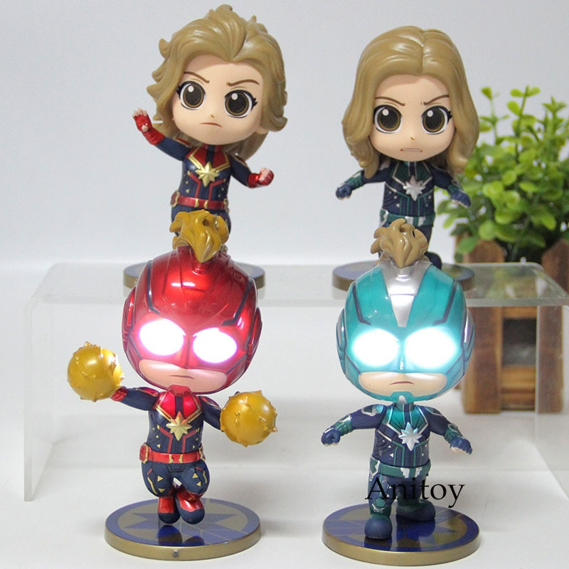 Los Vengadores 4 capitán Marvel figura de acción Q versión Bobble cabeza PVC colección modelo de juguete con luz 4 unids/set