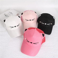 summer brand children net cap adjustable cute embroidered hat cat ears snapback cap boy hip hop hat girl pearl baseball cap