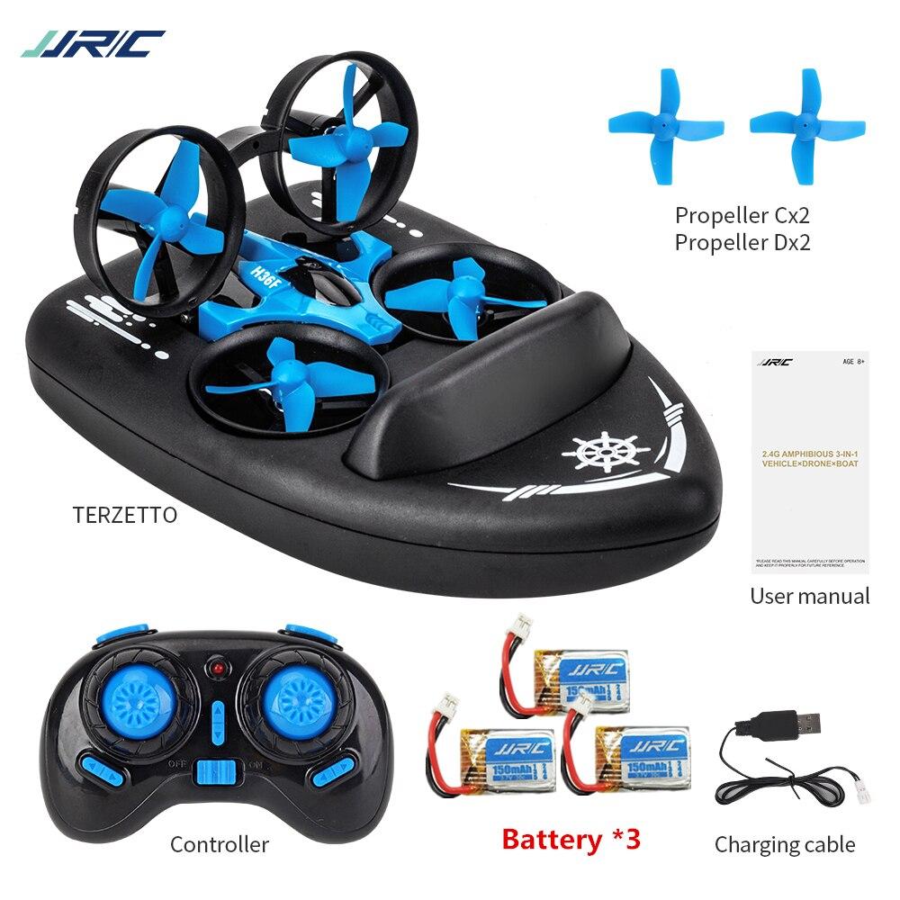 Jjrc h36f 3in1 mini zangão rc quadcopter/veículo/hovercraft barco crianças brinquedos para mar terra e ar dron vs jjrc h36 e010