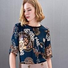 Nouvelle robe dété costume haut vêtements pour femmes haute qualité 100% chemise en soie avec impression à manches moyennes