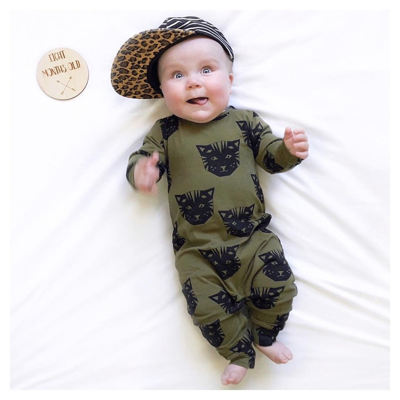Tinypeople preto gato infantil bebê macacão de algodão primavera meninos roupas meninas bonito bebe outono manga longa macacão recém-nascido onesie
