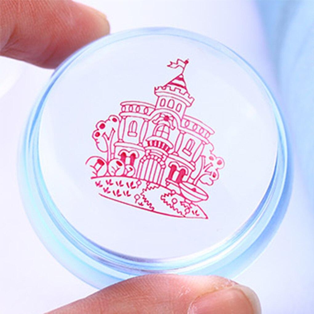 Claro ajedrez 3,5 CM cabeza de silicona estampador de uñas con raspador azul claro Rosa rojo gelatina sello de estampado de uñas