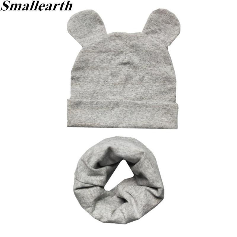 New 100% Cotton Children Hat Scarf Set Children's Lovely Cap Beanies High Quality Boys Girls Hat Sca
