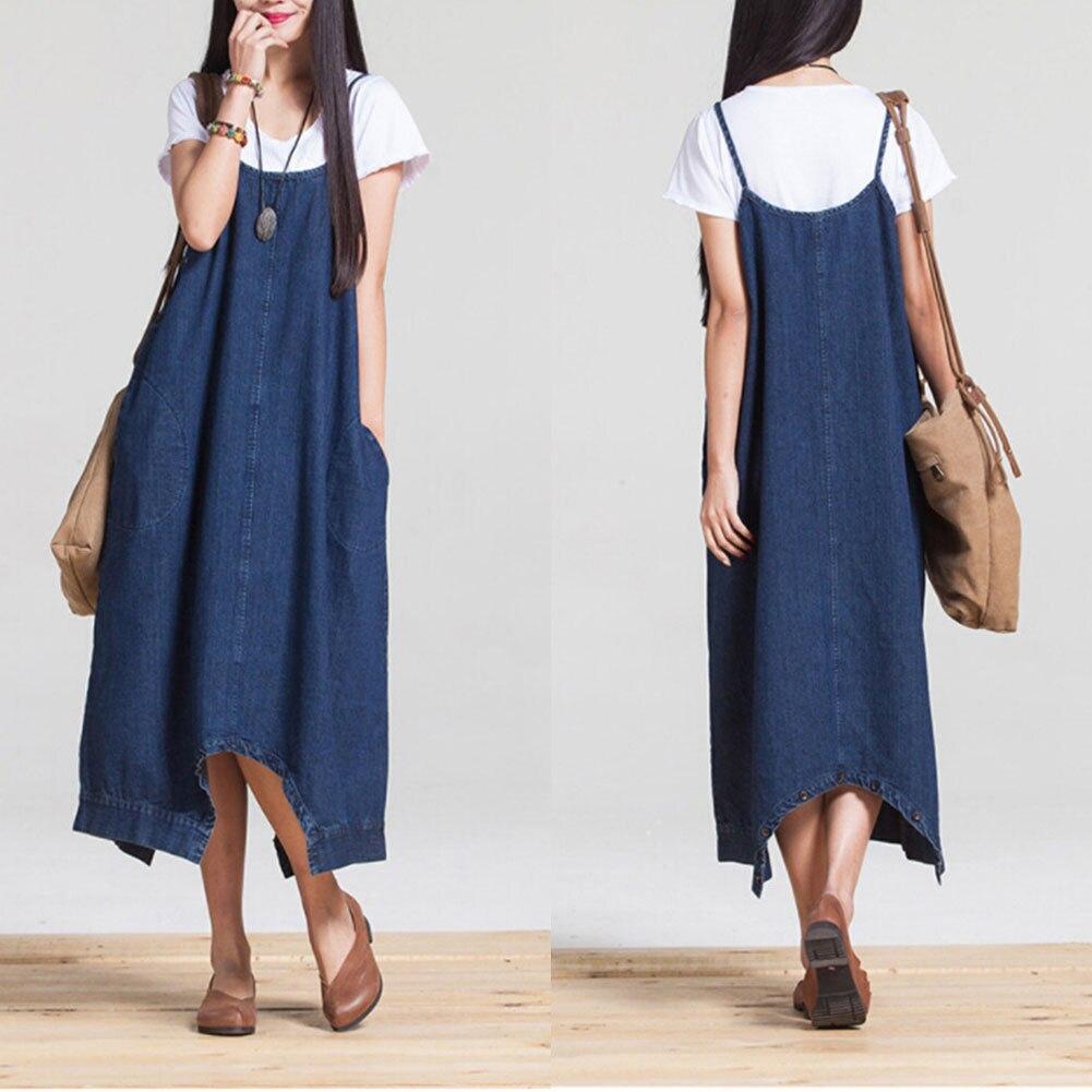 2018 hirigin Casual  Women Sleeveless Camisole Summer  Cute Denim Pocket  Loose Long Dress