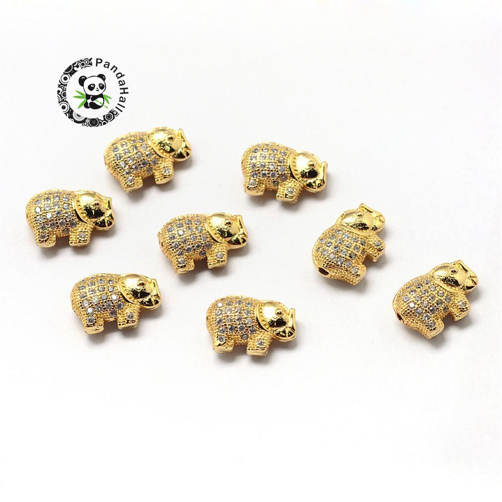 Rack Plating Brass Cubic Zirconia Beads, Elephant, Golden, 9.5x13.5x5mm, Hole: 1.5mm
