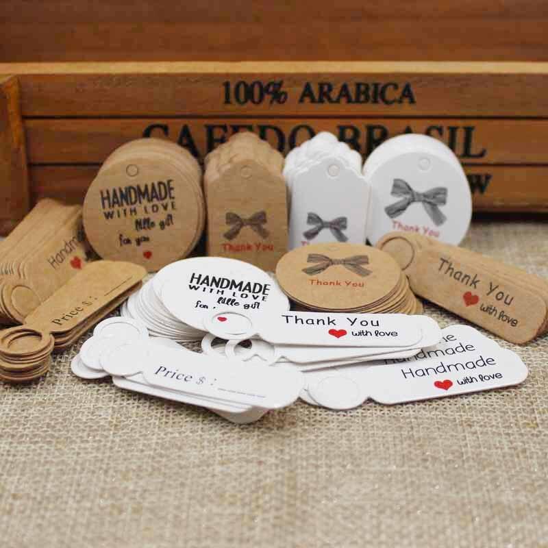 100 pces multi bonito marrom/branco papel etiqueta do presente etiqueta artesanal jóias encantos tag redondo favores do casamento/cookies etiqueta decorativa