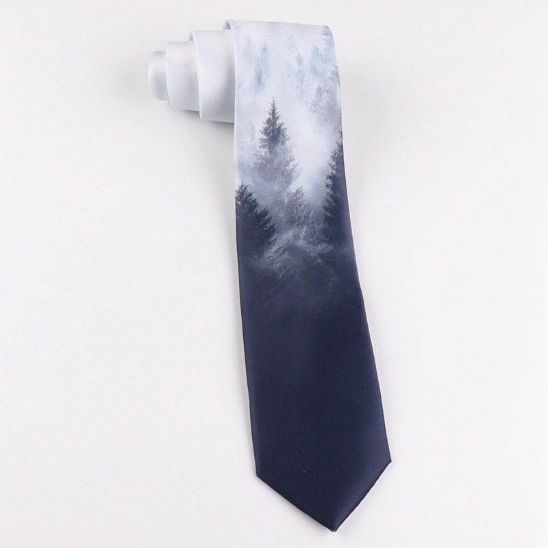 Printed tie 7cm gray blue Chinese style retro party student birthday gift