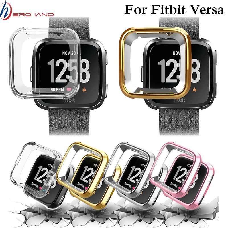 Hero Iand Ultra-thin Soft Plating TPU Protection Silicone Case Cover For Fitbit Versa wearable devices smartwatch Protector