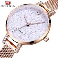 MINI FOCUS Rose Gold Women Watches Stainless Steel reloj mujer Top Brand Luxury Clock Ladies Quartz Wrist Watch Relogio Feminino