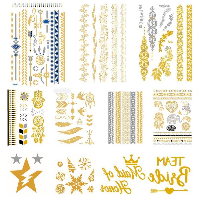 Sale Flash Metal Waterproof Temporary Sticker Gold Color  Stripe geometry Men Women Water Transfer Tattoo Sticker Body Art