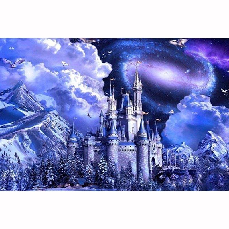 Venta de bordado de diamantes pintura de Castillo de montaña cuadro de diamantes de imitación cuadros de punto de cruz mosaico