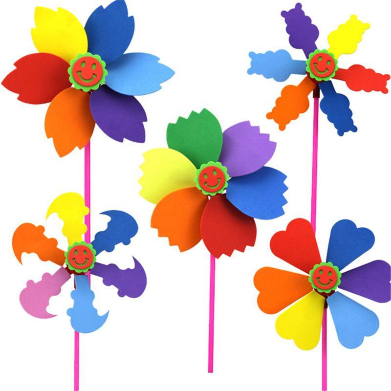 6Pcs DIY EVA Windmill Pinwheel Wind Spinner Kids Toy Garden Lawn Party Decor Toy Kindergarten