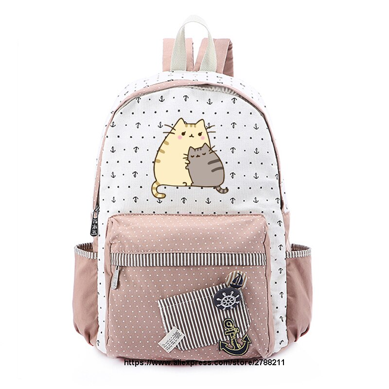Bolso de lona de gato gordo, mochila de unicornio, mochila para adolescentes, niñas, mujeres, bolso de hombro de viaje escolar