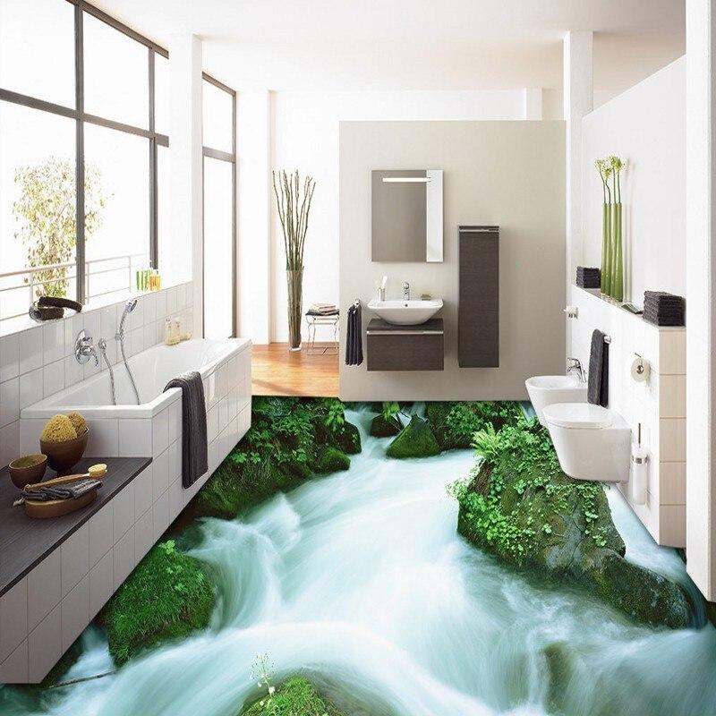 Бесплатная доставка 3D наружные горные ручьи пейзажи для пола Нескользящие водонепроницаемые напольные покрытия для ванной комнаты