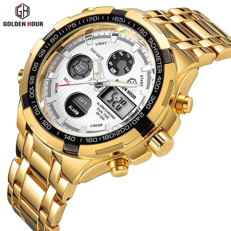 Reloj GOLDENHOUR a la moda de lujo para hombre, reloj deportivo militar resistente al agua, reloj de pulsera analógico de cuarzo para hombre, reloj Masculino