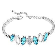 Di nuovo modo variopinto di cristallo del braccialetto di marea braccialetto dargento di cristallo del rhinestone di alta gioielli con regalo di compleanno femminile