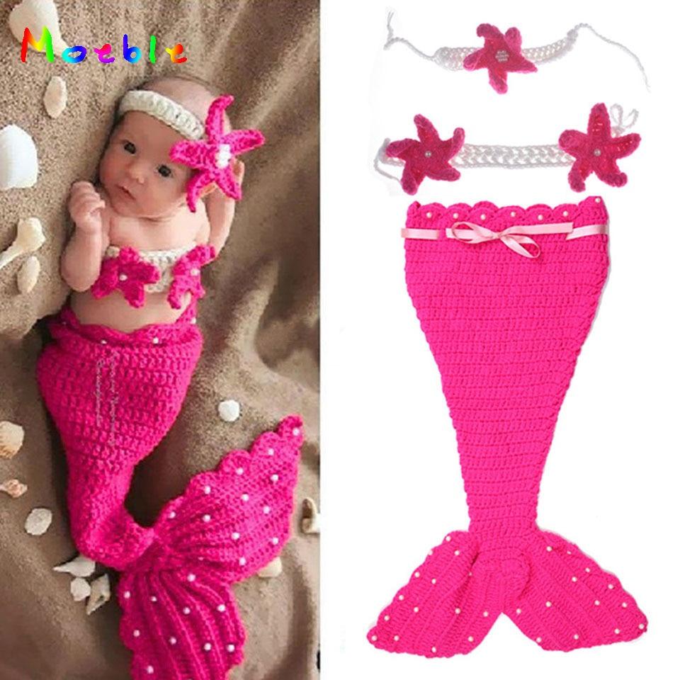 Crochet Mermaid Newborn Girl Outfit Baby Girl Crochet Pearl Cocoon&Flower Headbands Photo Props Infant Cartoon Costume MZS-14113