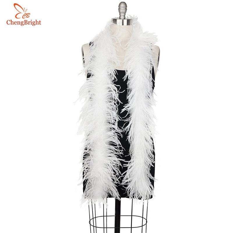 Lote de 2 unidades de trajes de Boa de plumas de avestruz blanco Natural esponjoso/adorno para fiesta/traje/chal/pluma de avestruz artesanal para boda Diy