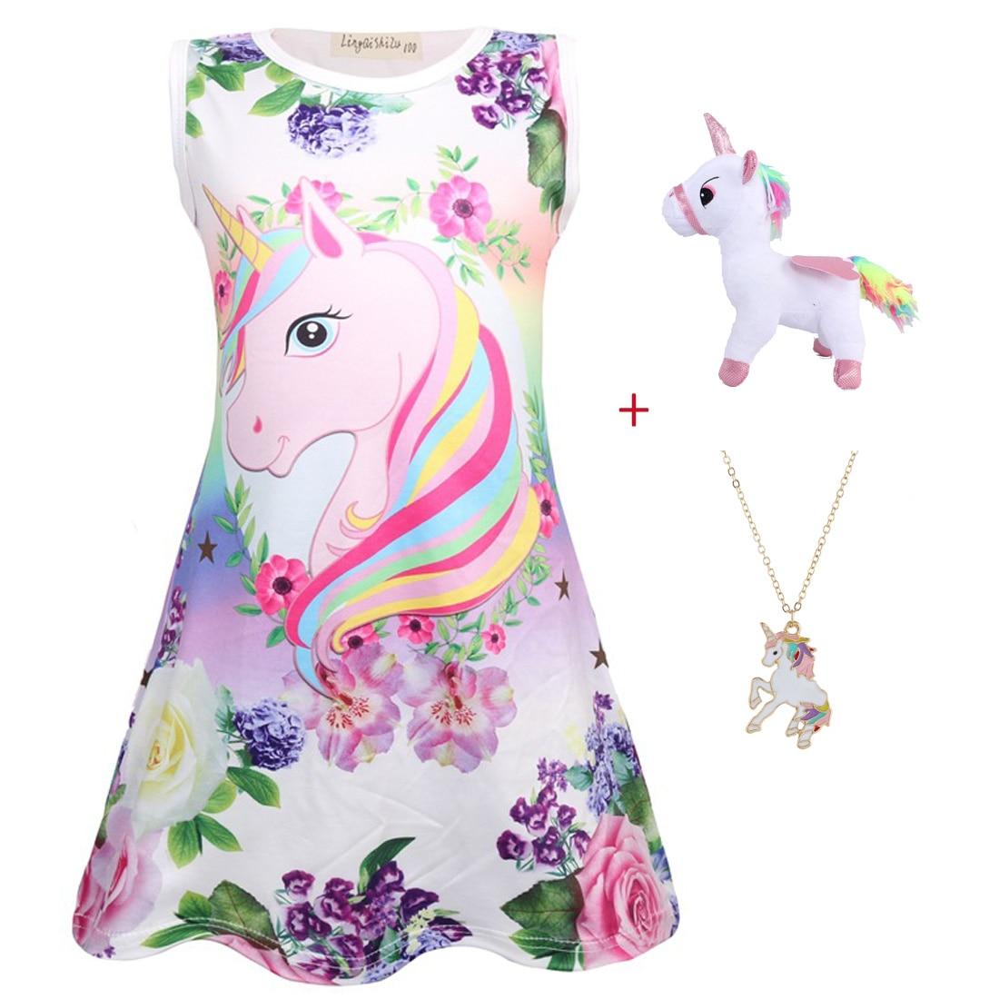 Платье для маленьких девочек, платье без рукавов для девочек, детская одежда для вечеринок в стиле «лол», одежда с единорогом для 4, 5, 6, 7, 8, 9, 10 лет, 2019