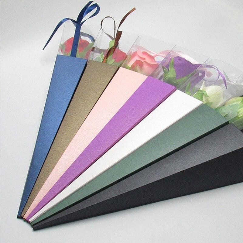 Armazenamento colorido da embalagem da flor do florista da fita de seda do armazenamento do saco de papel das flores do cone único para o casamento do festival 42cm