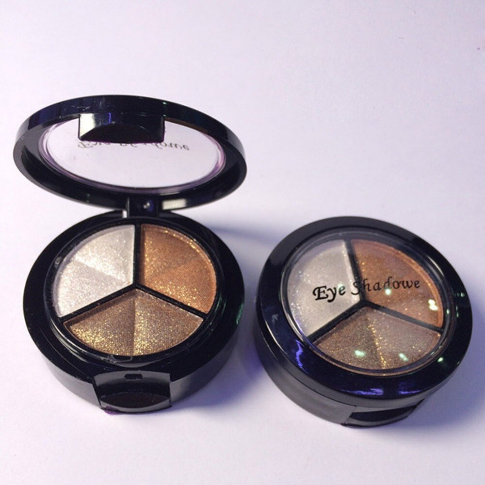 Sombra de ojos desnuda espejo de maquillaje con un cepillo 3 colores sombra de ojos caja portátil gota envío moda sombra de ojos