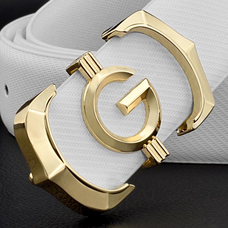 Cinturones de diseñador para hombres de alta calidad de cuero genuino de moda g cinturón para hombres de marca de lujo Cowskin casual blanco cintura Correa ceinture homme