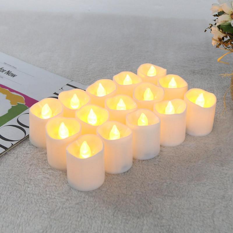 12/24 stücke Warme Weiß Unregelmäßigen LED Flackern Tee Glühbirne Flammenlose Gefälschte Kerze Lampe Festival Hochzeit Feier Dekoration