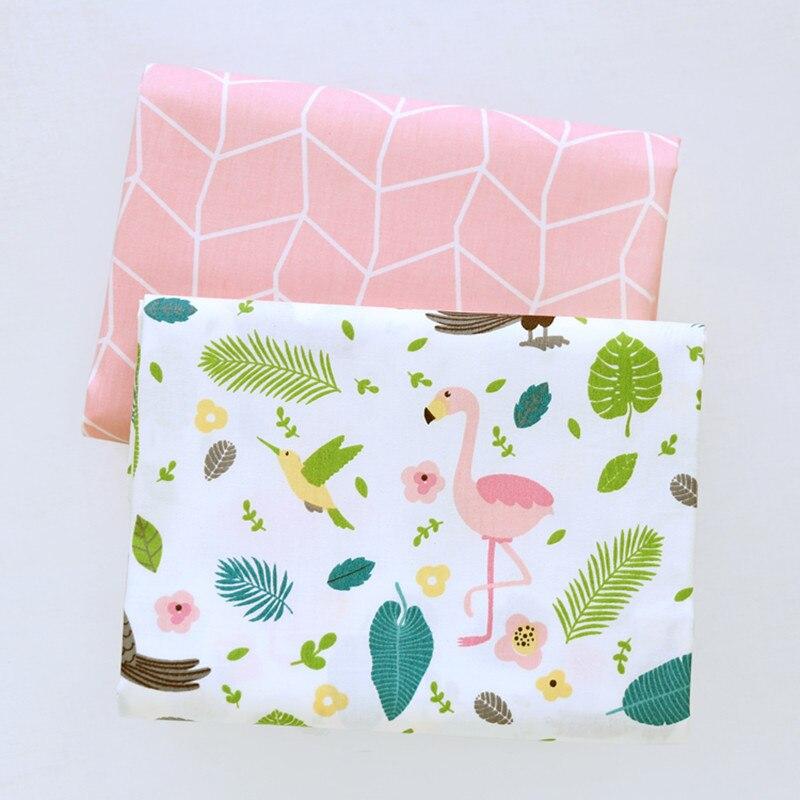 160CM * 50CM Rosa dibujos de flamencos bebé tela de algodón bricolaje chico cuna ropa de cama hoja hecha a mano decoración patchwork tejido