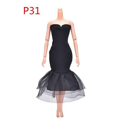 Coscosx vestidos de boneca preto vestido de noite roupas para bonecas presente boneca acessórios