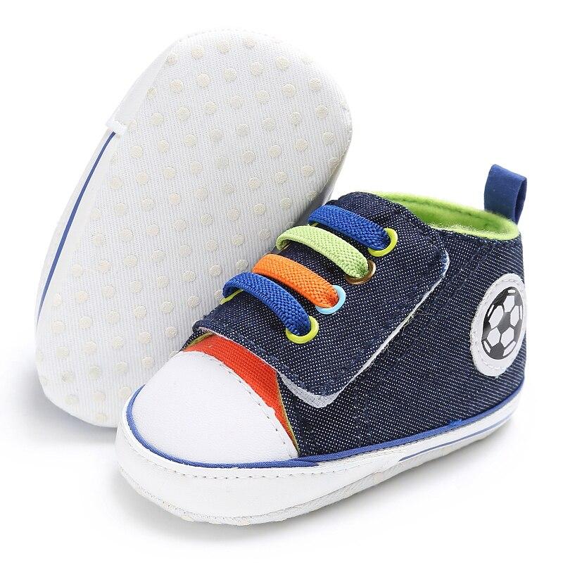 Mocasines infantiles de lona de fútbol zapatos de bebé niños niñas recién nacidos primeros caminantes zapatillas deportivas edad 0-18M