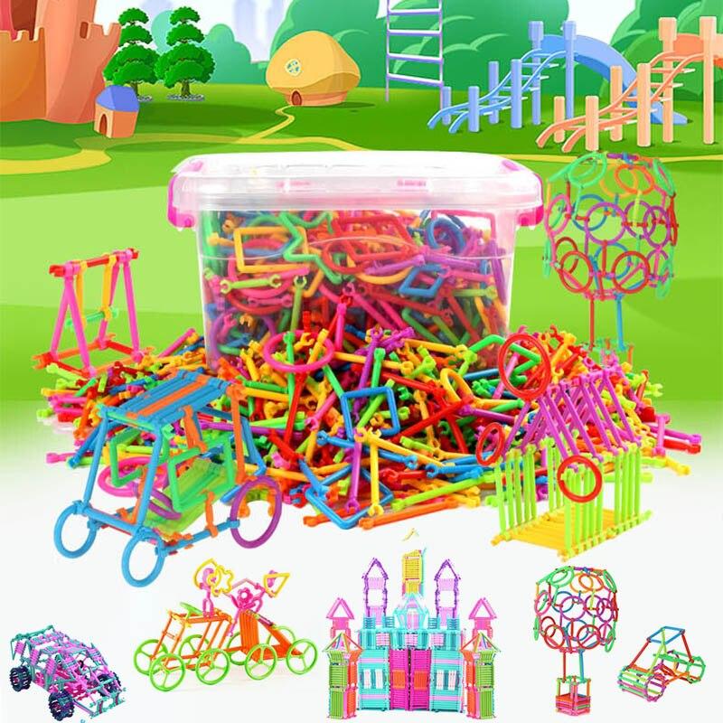 500 pçs/lote montado blocos de construção varinha mágica inteligente vara magnética designer construção educação menino menina brinquedo criança presente