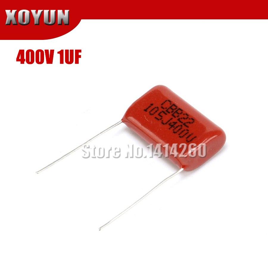 Capacitor de película de polipropileno 10 Uds. 400V105 1UF Pitch 20MM 400V 105 1000NF CBB