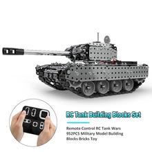 Neue Edelstahl Fernbedienung RC Tank Wars 952 PCS Military Modell Bausteine Ziegel 80 m Tank Spielzeug