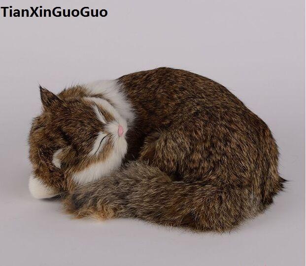 simulation cat hard model toy polyethylene&furs brown sleeping cat large 25x20cm handicraft home decoration gift s0685