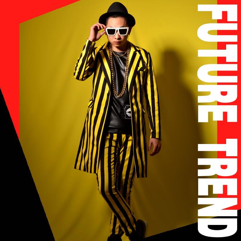 2018M- 6XL///Nightclub male singer DSDJ yellow and black stripes British long suit big bar costume accessories.
