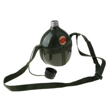 Cantimplora verde militar para exteriores, botella de agua para Camping, contenedor de aluminio Retro con correa para el hombro