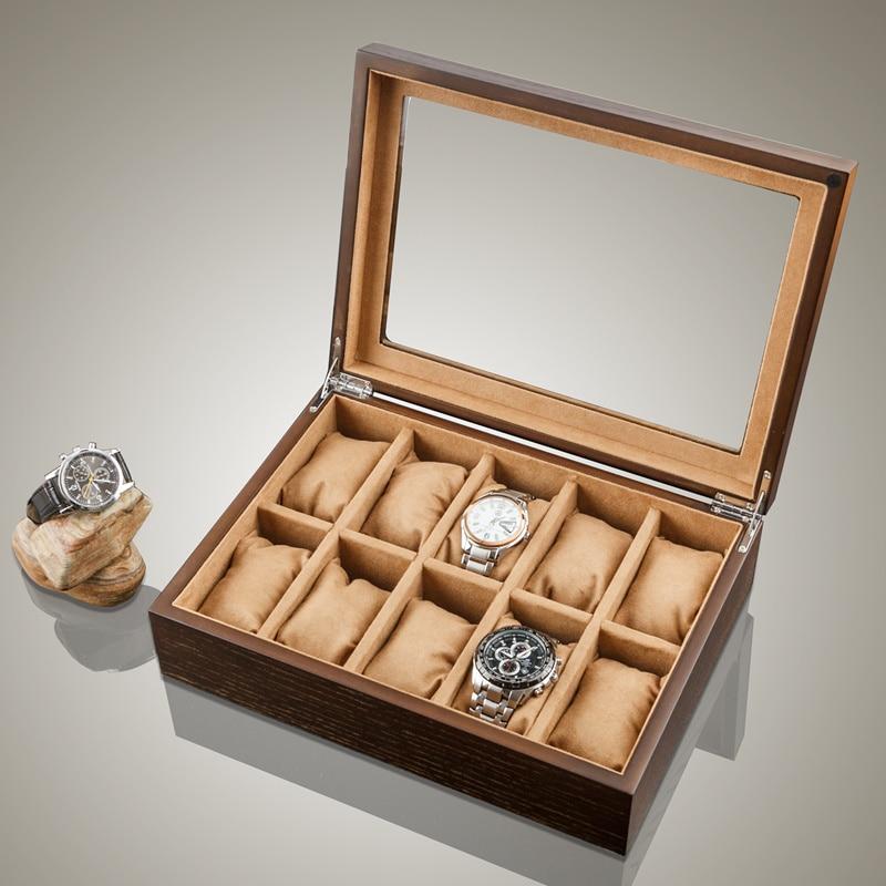 10 ranuras organizador de reloj de madera relojes de lujo caja de soporte de almacenamiento de joyería de madera caja de reloj de madera con cerradura