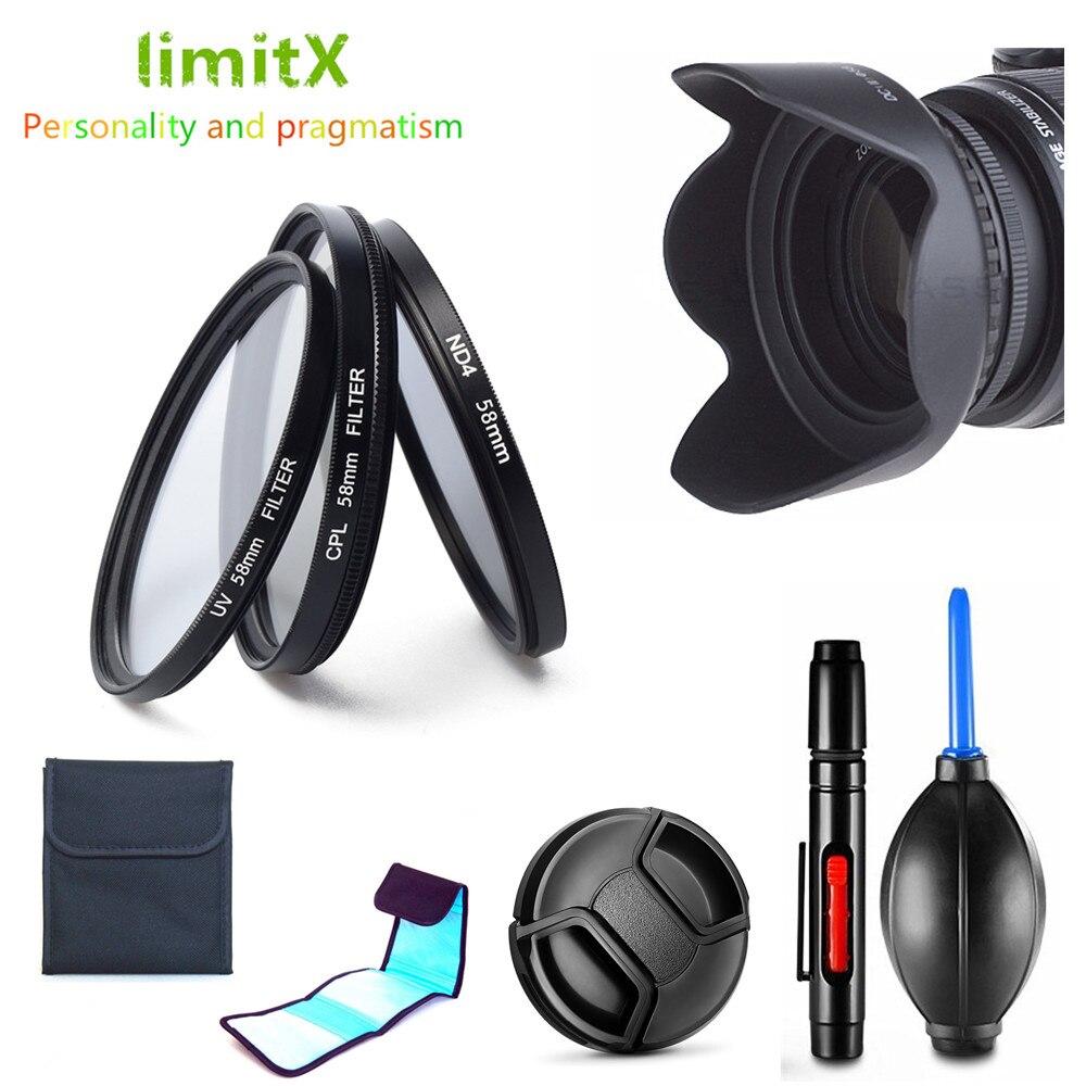 Набор фильтров UV CPL ND4 + бленда объектива + крышка + чистящая ручка для Nikon D3400 D3500 D5600 D7500 с AF-P DX 18-55 мм f/3,5-5,6G VR объектив