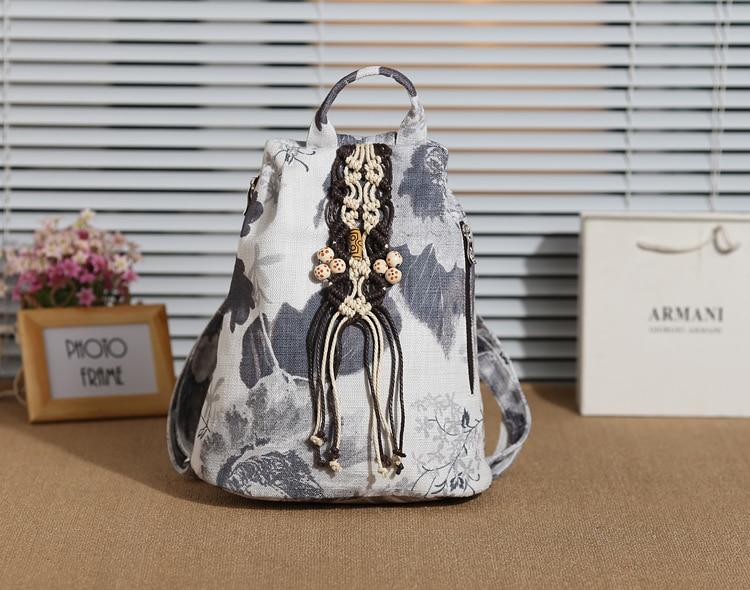 Fashion String Appliques National Shopping backpacks!Nice Bohemian Floral Embossing Women Backrucks Hot Vintage Canvas backrack