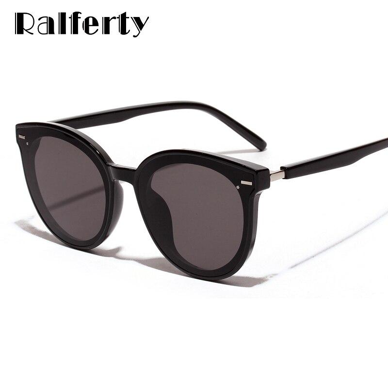 Gafas de sol Ralferty Korea de marca de lujo para hombre y mujer, gafas de sol de gran tamaño negras UV400 puntos 2019, gafas de sol lunette para mujer W181204