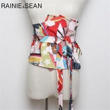 RAINIE SEAN-ceinture Extra large pour femmes, bandeau imprimé à la taille, cravate Corset, nœud, japonais