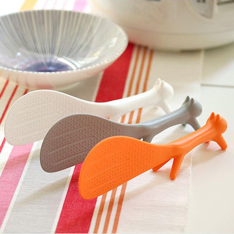 Nuevo 2 uds precioso suministro de cocina cucharón en forma de ardilla cuchara de arroz antiadherente cuchara de comida cuchara de plástico antiadherente para el hogar cuchara de arroz