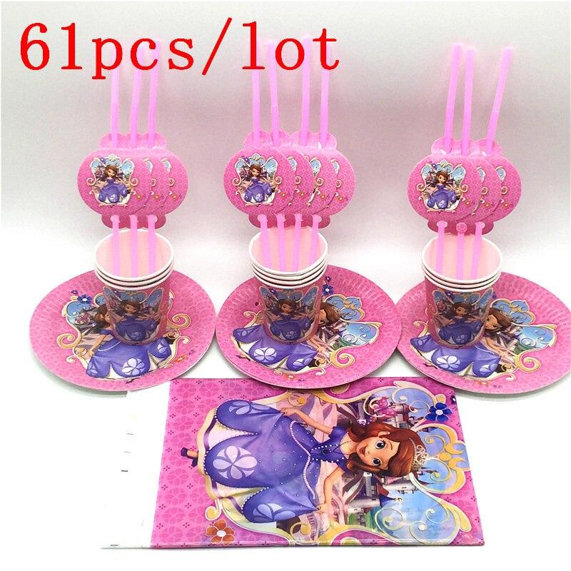 61 unids/lote Disney Princesa Sofía Diseño del tema niños fiesta de cumpleaños y decoraciones de fiesta tazas de plástico suministro de pajillas