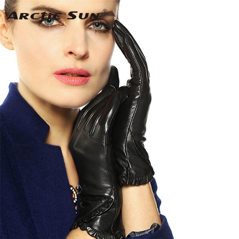 Touchscreen Ms. Leather Gloves Winter Plus Velvet Warm Fashion Black Genuine Leather Goatskin Glove Women Driving L001NC1 ms office pro plus 2019 genuine license 2 pc install