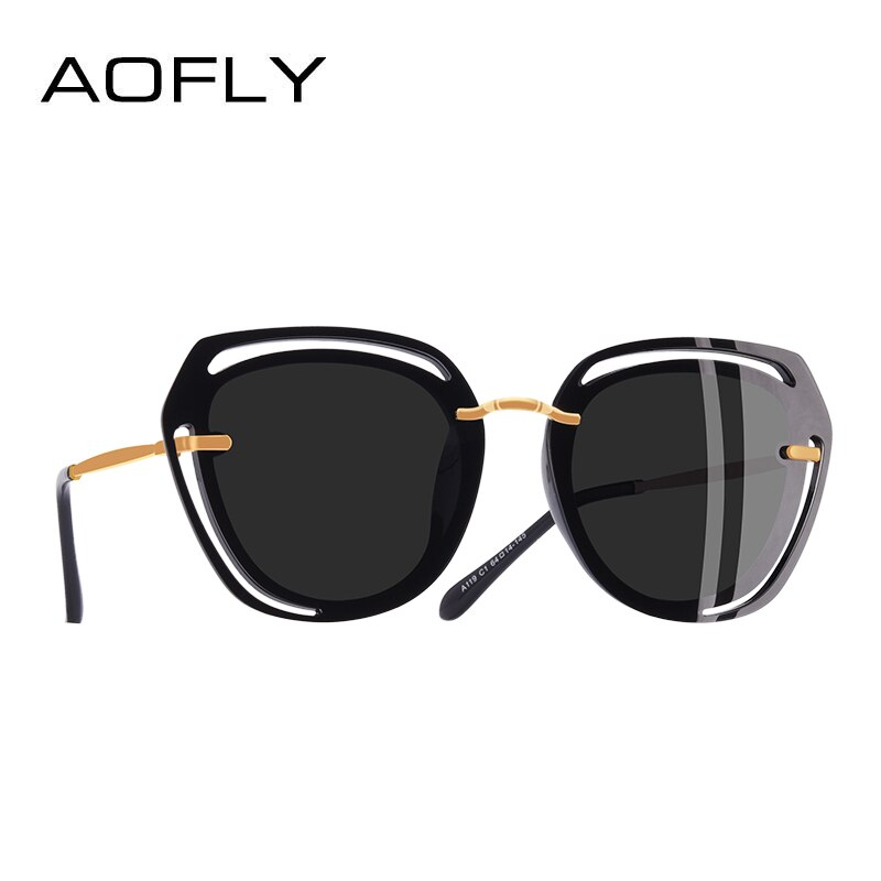 AOFLY BRAND DESIGN Square Sunglasses Female Fashion Hollow Out Frame Polarized Sunglasses Women Shades A119
