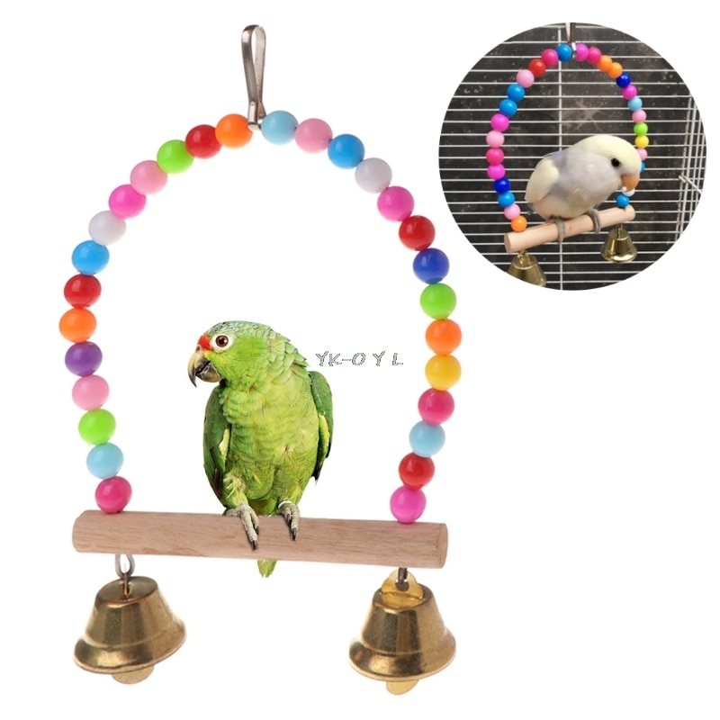 Natural Wooden Parrots Swing Toy Birds Perch Hanging Swings Cage With Colorful Beads Bells Toys Bird