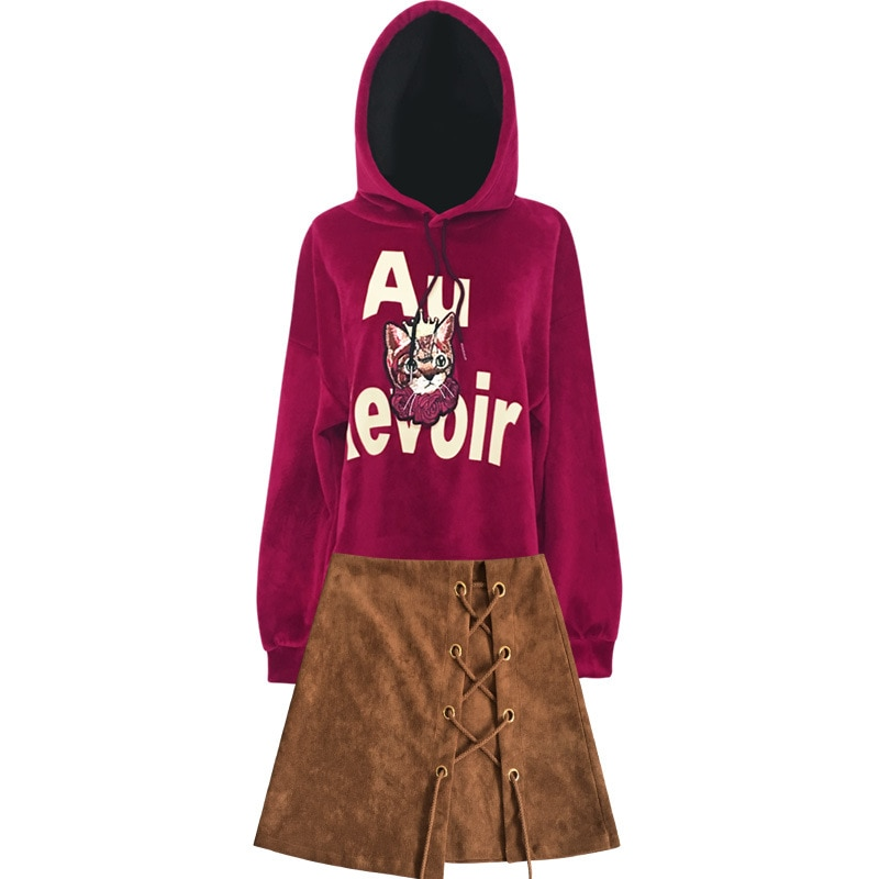 New Fashion Spring and Autumn pleuche Hooded and Skirt 2pcs Suit enlarge